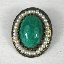 Brooch Brasstone Pin 1 1/8 Inches Green Faux Stone Faux Pearl Lose Stone - $24.74