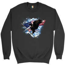 Bald Eagle Carrying the American Flag Sweatshirt 4th of July Patriotic C... - $19.72+