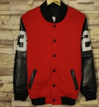 Red cashmere cardigan sweater Mens with male students baseball uniform c... - $56.10