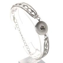 18mm Snap Button Bracelet Bangles Vintage Silver Bronze Bracelet Snap Je... - $8.59
