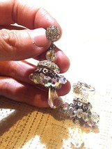 Vintage Long 1960 s Clear Austrian Crystal Chanelier Clip On Earrings - $64.35