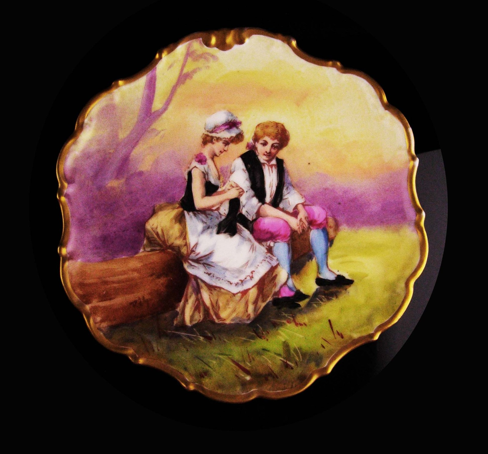 Antique Flambeau Limoges dish - Handpainted portrait - Victorian cameo wall char
