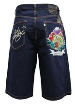 Ed Hardy Christian Audigier Men's Premium Denim Tiger Shorts Alive & Aware
