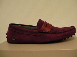 Lacoste men casual shoes slip on dark red size 7.5 us new with box  - $118.75
