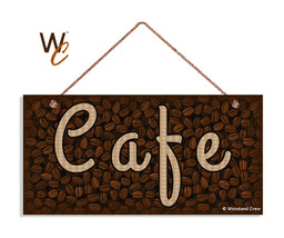 Cafe Sign, Coffee Bean Background, 5x10 Coffee Bar Sign - $11.39