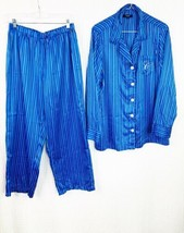 Ralph Lauren Chaps 2 Piece Pajama Set Blue White Stripe Sz XL Monogram C - $38.69