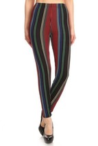 Women's Regular colorful Vertical Stripes Pattern Printed Leggings - $247,30 MXN