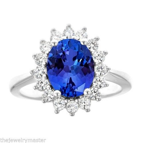 Primary image for TANZANITE & DIAMOND HALO ENGAGEMENT RING OVAL SHAPE 10x8mm WHITE GOLD 3.36CT