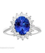 TANZANITE & DIAMOND HALO ENGAGEMENT RING OVAL SHAPE 10x8mm WHITE GOLD 3.... - £2,007.20 GBP