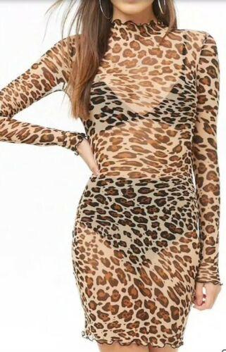 Forever 21 Durchsichtig Netz Leopard Gepard Motiv Sexy Kragen Langärmliges Kleid image 5