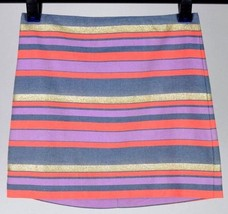 "J.Crew Pencil Mini Skirt Red Blue Gold Purple Stripe Above Knee Sz 4 Waist 30.5"" - $12.86"
