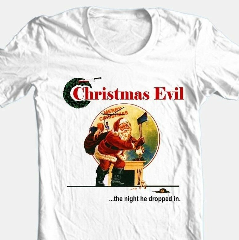 Christmas Evil T-shirt Free Shipping retro horror slasher movie cotton white tee