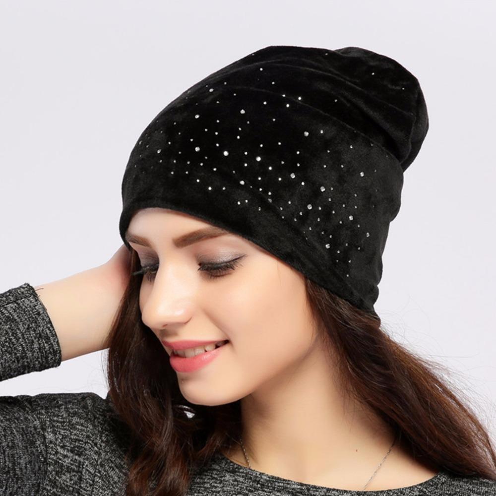d6d34416cc794 Geebro Women s Velour Beanie Hat Spring Polyester Shine Diamond Rhinestones