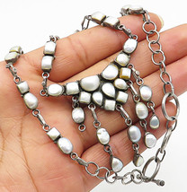 925 Sterling Silver - Vintage Mother Of Pearl Dangle Chain Necklace - N1732 - $108.64