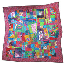 Flamingo Art Quilt Wall Hanging Abstract Bright Colors Handcrafted 52 In... - $79.99