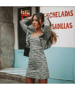 ZARA POPLIN DAISY DRESS SHORT V-NECK LONG SLEEVES BALLOON PUFF RUFFLES N... - $69.99
