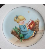 Vintage Hand Painted Signed Plate Christmas Lovelace China Manger Girl - $9.89