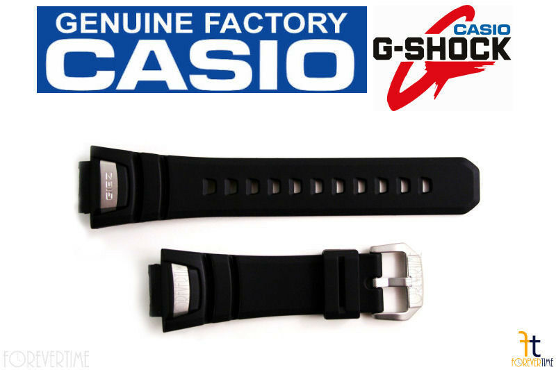 Primary image for CASIO GS-1100 G-Shock Original 16mm Black Rubber Watch BAND Strap GS-1400 Silver