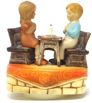 "Sankyo Vintage Music Box Boy and Girl Praying at Table 6""H - $35.99"