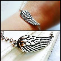 Silver Angel Wing Bracelet Silver Wing Bracelet Silver Wing Charm Bracelet - $22.00