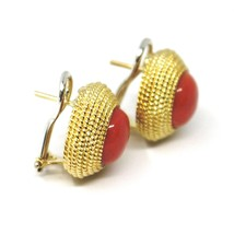 18K YELLOW GOLD BUTTON EARRINGS CABOCHON ROUND RED CORAL WORKED MULTI WIRE FRAME image 2