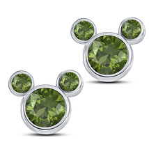 Round Cut Green Peridot Mickey Mouse Stud Earrings 14k White Gold FN 925 Silver - $43.60