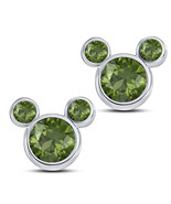 Round Cut Green Peridot Mickey Mouse Stud Earrings 14k White Gold FN 925... - $43.60