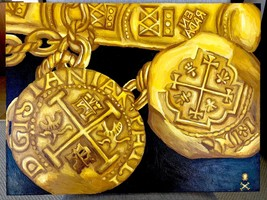 "Treasure Paintings by JR Bissell: ""Bar and Chains"" Atocha Shipwreck Pirate Gold - $50,000.00"