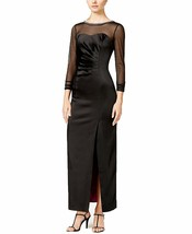 Tahari ASL Womens Sz 4 Aaron Satin Embellished Evening Dress Black 2294-3 - $60.16