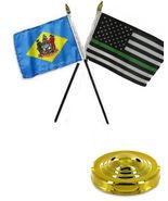 "Delaware State & Thin Green Line USA 4""x6"" Flag Desk Set Table Stick Gol... - $20.00"