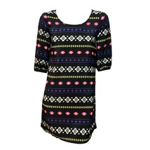 rue21 Juniors Black Pink Print 3/4 Sleeve Casual Shift Mini Dress S - $16.83