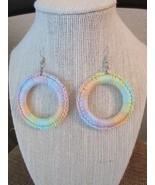 Crochet Hoop Earrings Pastel Rainbow Colors - $12.77