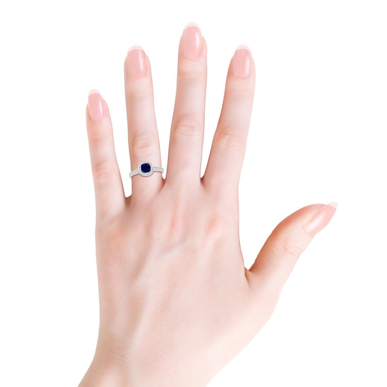 5mm Cushion Natural Blue Sapphire Ring with Diamond Halo 14K Gold/Platinum
