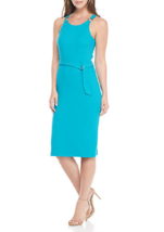 NWT MICHAEL KORS BLUE GREEN  PINK  BELTED MIDI SHEATH DRESS SIZE L SIZE ... - $42.53+
