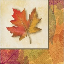 Burnished Leaves 16 Luncheon Napkins Paper Thanksgiving Fall - $5.49