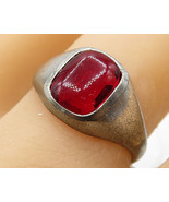 925 Sterling Silver - Vintage Faux Red Gemstone Solitaire Ring Sz 10 - R... - $29.08