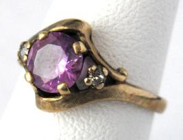 Ring 10kt Gold Pink Topaz Faux Diamonds Size 5 3/4 Vintage 1960s Florentine - $250.00