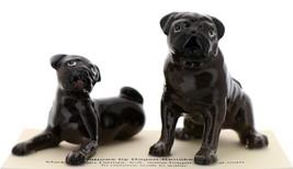 Hagen-Renaker Miniature Ceramic Dog Figurine Pug Black Mama Sitting and Baby Pup - $15.96