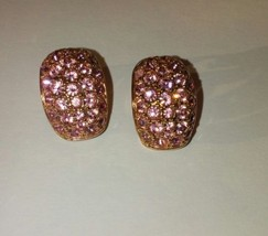 Nolan Miller Pink Pave J-Hoop Earrings Gorgeous Bright Pink Stones Rare ... - $74.79