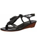 BERNARDO Court Black Wedge Tassel Sandals sz 8 - 8.5 - $77.21