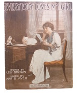 EVERYBODY LOVES MY GIRL -  PRETTY GIRL & WHITE CAT 1914 Vintage Sheet Music - $13.00