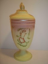 Fenton Glass Burmese Hand Painted Dancing Ladies Covered Urn Vase Candy Dish GSE - $145.02