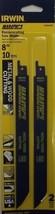 "Irwin 372810P2 8"" 10TPI Metal & Wood Cutting Recip Blades 2pk USA - $2.97"