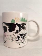 """Mug Ceramic Cow Calf Country Farm White 3 3/4"""" - $14.84"""