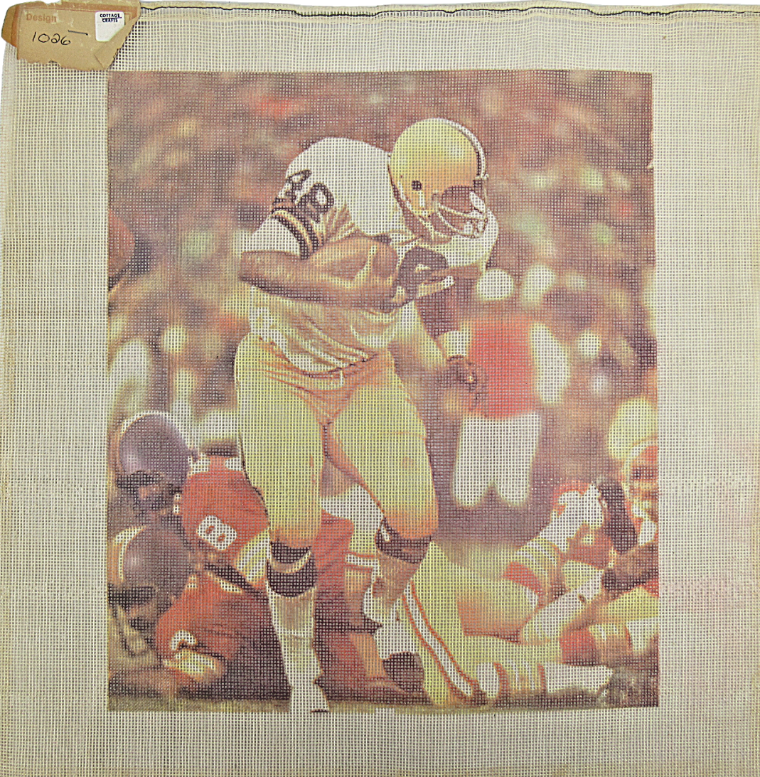 Primary image for 1970s Hand Painted Needlepoint Mystery NFL Football Player Jersey#48 14-CT