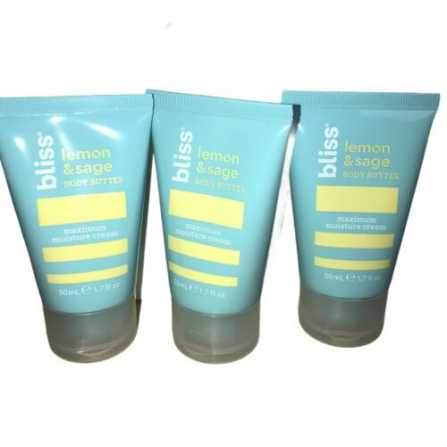 Primary image for 3 x Bliss Lemon Sage Maximum Moisture Cream Body Butter Cruelty Free 1.7oz