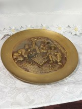 "1968 Vintage Korean Heavy Brass Raised Relief Hanging Wall Plate 12 1/4"" image 2"