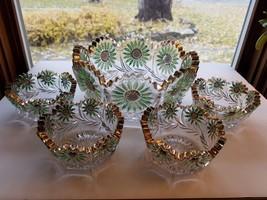 US Glass 15125 Daisy Intaglio Sunflower Green, Gold Master Berry Set c19... - $43.95