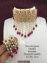 Bollywood Indian Gold Plated Pearl Fashion Choker Necklace Earring Jewelry Set - $16.26