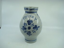 STONEWARE PITCHER W BLUE FLOWERS COFFEY SIGNED  - $36.95